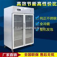 双熊双玻璃门冷柜冰箱冷藏饮料展示柜商用立式冰柜不锈钢铜管可选