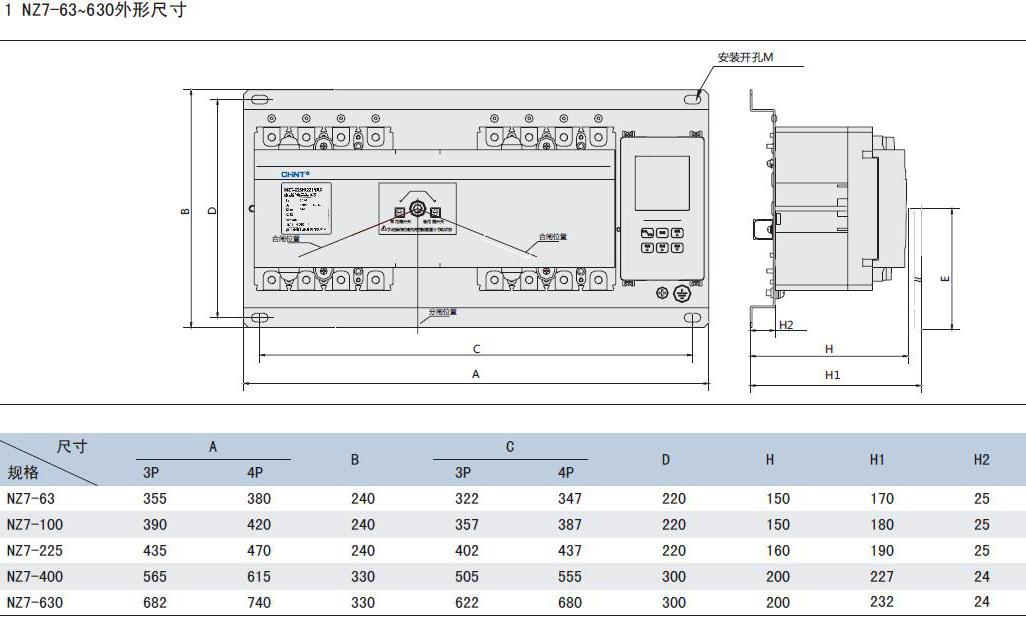 正泰nz7【nz7b】双电源自动转换开关