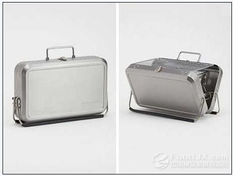 但帶個燒烤爐是很麻煩的工作,設計師kikkerland設計了一個手提箱式的